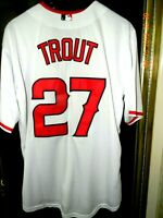 Los Angeles Angels MVP MIKE TROUT Home White  Baseball Jersey,  Size: LARGE