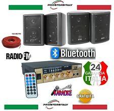KIT AUDIO CON KARAOKE 100 WATT BLUETOOTH+USB+RADIO FM+TELECOMANDO + 4 CASSE
