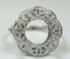 Antique Art Deco Vintage Ring Setting Mounting Mount Platinum Hold 7.5MM-9MM