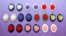 20 unset Asst. Colors ROSE 25mm x 18mm Costume Jewelry 10 pairs craft CAMEOS Lot