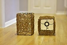 WICKER, RATTEN WOVEN CEILING LAMPSHADES RECTANGULAR PAIR