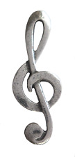 Treble Clef Pin Badge in Polished English Pewter