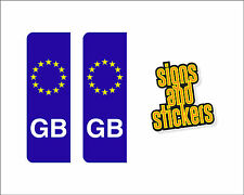 2 EURO NUMBER PLATE GB BADGES STICKERS DECALS SIGNS X2 VINYL