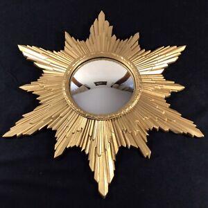 """Vintage Retro Mid Century Modern Gold Sunburst Starburst Convex Mirror 23.5"""""""