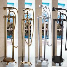 Floor Mount Bathtub Shower Filler Faucet Free Standing Mixer Tap Handheld Spray
