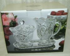 Shannon Crystal Sugar Bowl and Milk Pitcher on Tray by Godinger
