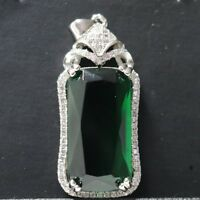 7.6Ct Baguette Green Emerald Moissanite Halo Pendant 925 Sterling Silver Jewelry