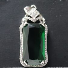 Large 7.6 CT Green Emerald Moissanite Pendant Solid 925 Silver Charm Woman Gift