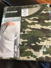 Joe Boxer  Men's Thermal Long Sleeve Top Henley Shirt Army Camouflage SMALL