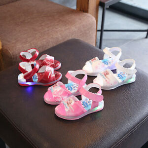 Frozen Elsa Anna Girls Summer none slip Sandals shoes in white or pink size 30