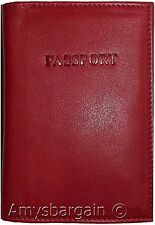 Passport Cover Holders, Red Genuine Leather Travel passport ID Wallet Case BRNew