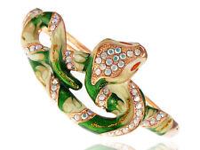 Ali-Market Crystal Element Green Enamel Paint Intertwined Snake Chic Bracelet
