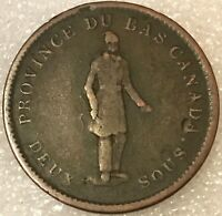1852 Lower Canada Du Bas One Penny Token City Bank, free combined shipping