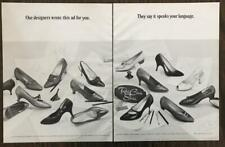 1965 Red Cross Women's Shoes Print Ad Designer Sketches Full Shoe Line 2 pages
