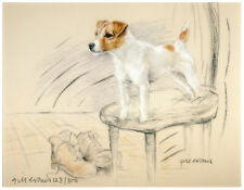 JACK RUSSELL TERRIER PARSON  DOG ART LIMITED EDITION PRINT - Standing on a Chair