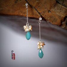 Boucles d'Oreilles Clou Perles de Culture D'eau Douce Gotte Bleu Original Cadeau