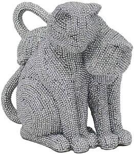 LEONARDO SILVER ART SPARKLE GLITTER CATS DECORATION ORNAMENT