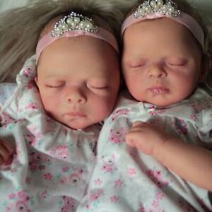 20Inch Lifelike Reborn Doll Kit Twins Pia & Maditha w/ Bodies unfinished Pa F6X8
