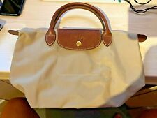 Genuine Beige Longchamp Le Pliage Original Small Top Handle Bag
