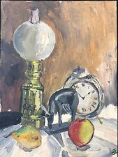 Huile sur Carton Vers 1960 Lampe à Pétrole Fruit Réveil Antique Fench Painting