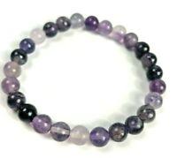 Sweet Purple Fluorite Natural Stone Gemstone Beaded 8mm Stretch Bracelet