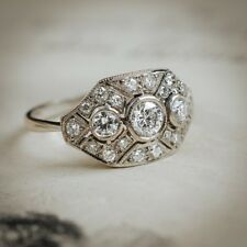 2 Ct Round Cut Diamond Antique Art Deco Engagement Ring 925 Silver