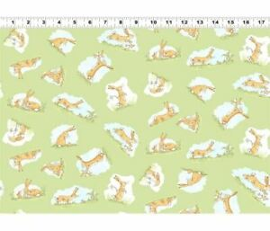 Guess How Much I Love You   Clothworks Fabrics   Nutbrown Hares, Green