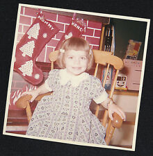 Vintage Photograph Little Girl Sitting in Rocking Chair By Christmas Stockings