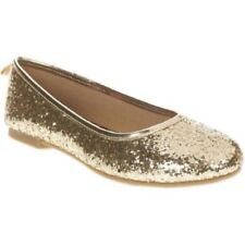 Faded Glory Girls' Dazzle Ballet Flat Casual Shoes Size 3 Color Gold