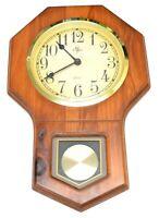 Elgin Wall Clock Wooden Brass Color Accents Quarts Faux Pendulum Works