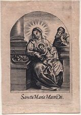 Sancta Maria Mater Dei Heilige Familie Altes Heiligenbild Kupferstich (O-7271