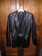DKNY Leather Blazer Jacket Coat 2 Black