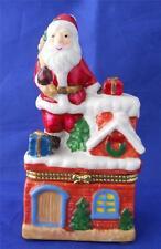 Santa Claus On House Roof Top Hinged Trinket Box Christmas Ceramic