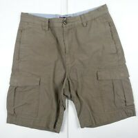 Chaps Green Brown Cargo Cotton Shorts Casual sz 32