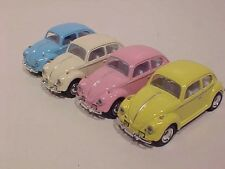 4 Pack 1967 VW Bug Volkswagen Beetle Diecast Car 1:64 Kinsmart 2.5 inch Pastel