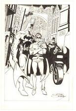 Batman, Robin, & Batgirl in Gotham City - Signed art by Jose Delbo Comic Art