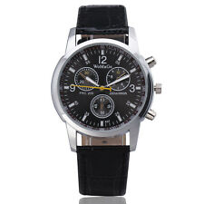 Black Fashion Unisex Faux Leather Strap Womens Mens Fake Dials Sport Wrist WATCH