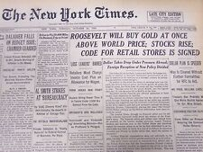 1933 OCTOBER 24 NEW YORK TIMES - ROOSEVELT WILL BUY GOLD AT ONCE - NT 5200