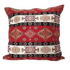"Red/Cream Kilim Pattern Tapestry 18x18"" Pillow Case / Cushion Cover (Linen back)"