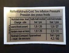 VW mk1 GOLF SCIROCCO CABINA Gti Adesivo Pressione Pneumatici PORTA CHIUSA 155 000 357 a