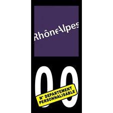 "2X Stickers Plaques Auto Fond Noir ""Rhône Alpes"""