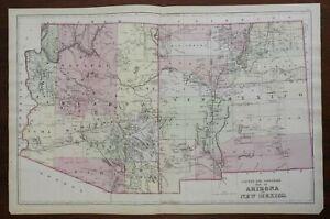 Arizona & New Mexico American Southwest Phoenix Santa Fe 1883 Mitchell map