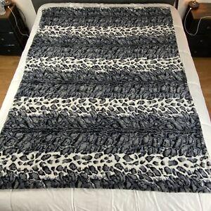 "Dennis Basso Black Animal Leopard Print Soft Plush 52""x68"" Throw Blanket"