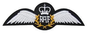 RAF Pilot Wings Iron or Sew On Embroidered Patch Badge Air Force Military R1634