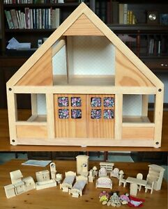 Plan Toys Wooden Dollhouse Set w/ Large Lot Of Furniture and Accessories
