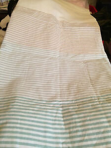 Threshold Micro Stripes Shower Curtain Tan & Aqua on White New without tags