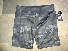 Athletic Works women Xl bike exercise yoga shorts 2 side pockets camo black/gray