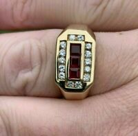 1.50Ct Princess Cut Red Ruby & Diamond Men's Pinky Ring 14k Yellow Gold Finish
