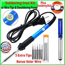 Soldering Iron Electric Temperature 60w Solder Wire W Desoldering Pump Amp Wick
