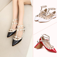 Fashion Women Rock Studs Flats Faux Leather Strappy Pointed Toe Rivets Shoes